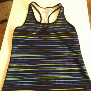 Champion fitted workout racer tank top striped med